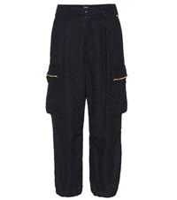 Undercover Cotton Blend Wide Leg Trousers Blue