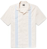 Todd Snyder Camp Collar Striped Cotton And Linen Blend Shirt Cream