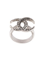 Chanel Vintage Cc Crescent Moon Ring Metallic