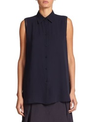Acne Studios Ash Sleeveless Silk Blouse Navy