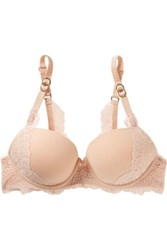 Stella Mccartney Stretch Jersey And Lace Underwired Plunge Bra Sand