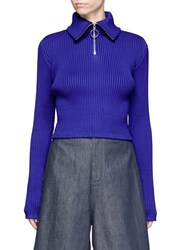 Shushu Tong Zip Front Cropped Rib Knit Top Blue