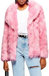 Topshop Camille Hooded Faux Fur Coat Pink