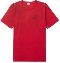 Saint Laurent Printed Cotton Jersey T Shirt Red