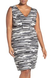 Tart Plus Size Women's 'Viera' Piped Detail V Neck Sheath Dress