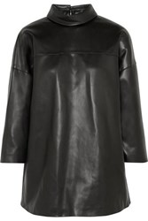 We11done Faux Leather Turtleneck Top Black
