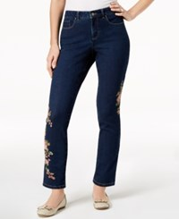 Charter Club Bristol Embroidered Tummy Control Ankle Jeans Created For Macy's Greenwich Wash Rose Combo