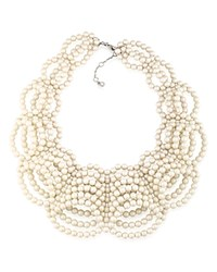 Carolee Faux Pearl Statement Necklace 16 White