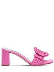 Casadei 60Mm Buckled Woven Satin Mule Sandals Fuchsia