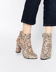 Daisy Street Snake Print Block Heeled Ankle Boots Beige