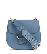 Reiss Maltby Leather Cross Body Bag In Blue