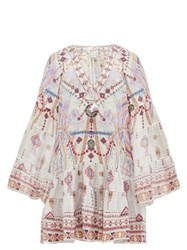 Camilla Tanami Road Printed Bell Sleeved Silk Dress White Multi