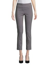 Imnyc Isaac Mizrahi Slimming Ankle Length Straight Leg Pull On Pants Black White Lattice