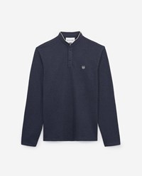 The Kooples Blue Embroidered Cotton Polo W Ecru Insignia