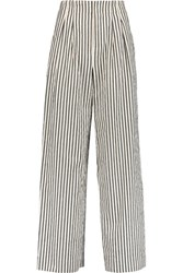 Alice Olivia Eloise Striped Stretch Cotton Twill Wide Leg Pants Off White