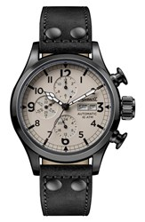 Ingersoll Watches 'S Armstrong Automatic Chronograph Leather Strap Watch 46Mm Black Beige Gunmetal
