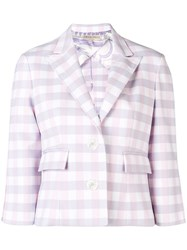 Emilio Pucci Check Print Cropped Blazer Purple