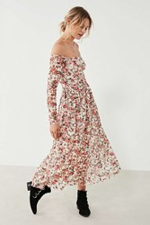 Urban Outfitters Uo Off The Shoulder Floral Lace Midi Dress Beige Multi