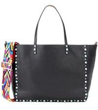 Valentino Garavani Rockstud Rolling Reversible Leather Shopper Black