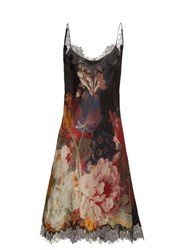 Carine Gilson Lace Trimmed Silk Satin Slip Dress Black Red Print