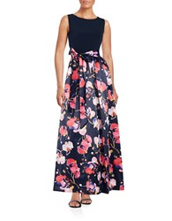 Ellen Tracy Floral Skirted Gown Navy Multi