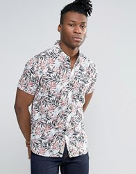 Pepe Jeans Short Sleeve Printed Tropical Shirt White Brown