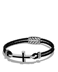 David Yurman Exotic Stone Cross Station Leather Bracelet With Black Onyx Black Silver