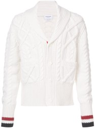 Thom Browne Shawl Collar Cardigan With Aran Cable In Fine Merino Wool And Red White