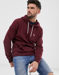 Abercrombie And Fitch Icon Logo Hoodie In Burgundy Red