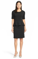 Women's Lafayette 148 New York Milano Knit Mock Two Piece Dress Black