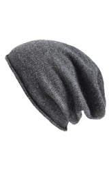 Women's Halogen Slouchy Cashmere Beanie Grey Charcoal Heather