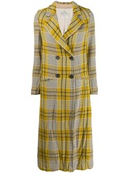 Forte Forte Checked Mid Length Coat Yellow