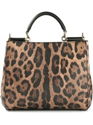 Dolce And Gabbana Small 'Sicily' Shopping Tote Brown