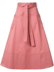 Co Belted A Line Midi Skirt Pink