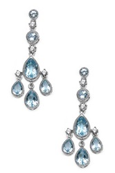 Olivia Leone Sterling Silver Genuine Blue Topaz Chandelier Earrings