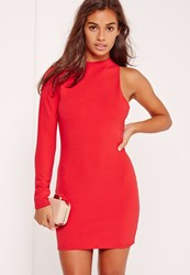 Missguided Petite One Sleeve Mini Dress Red