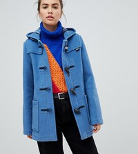 Gloverall Exclusive Slim Mid Length Duffle Coat Blue