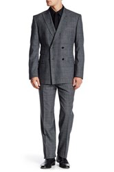 English Laundry Grey Plaid Two Button Notch Lapel Wool Trim Fit Suit Gray