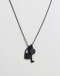 Chained And Able Lock Key Bunch Necklace Black