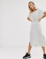 Bershka Midi Dress With Tie Waist In White