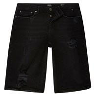 River Island Mens Black Distressed Skinny Fit Denim Shorts