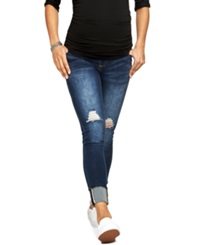 A Pea In The Pod Luxe Essentials Maternity Ripped Cuffed Skinny Jeans Dark Wash