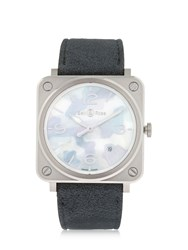 Bell And Ross Brs Camouflage Steel Satin Strap Grey