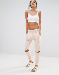Missguided Distressed Knee Joggers Nude Beige
