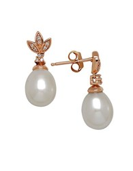 Lord And Taylor 7 9Mm White Freshwater Pearl Diamond 14K Rose Gold Drop Earrings Pearl Rose Gold
