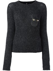 Class Roberto Cavalli Embellished Pocket Sweater Grey