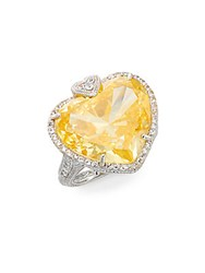 Judith Ripka Lola Canary Crystal White Sapphire And Sterling Silver Heart Ring Silver Yellow