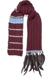 Prada Feather And Bead Trimmed Striped Wool Scarf Burgundy