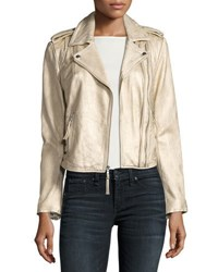 Joie Leolani Metallic Leather Jacket Gold