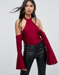 Ax Paris Cold Shoulder Bell Sleeve Top Wine Purple
